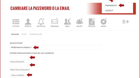 Cambio password o email del profilo